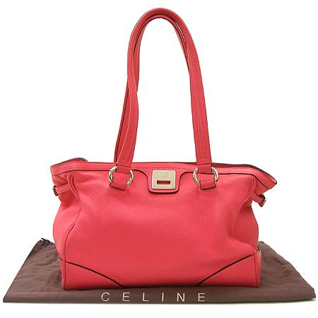 Celine(셀린느) 핑크 레더 은장 버클 쇼퍼 토트백