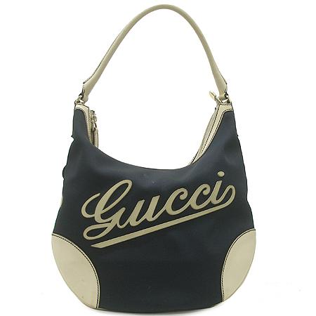Gucci(구찌) 169950 패브릭 로고 화이트 래더 트리밍 호보 숄더백 ...