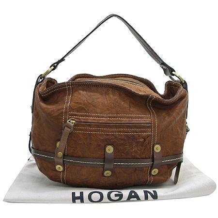 HOGAN(호간) 브라운 빈티지 래더 호보 숄더백