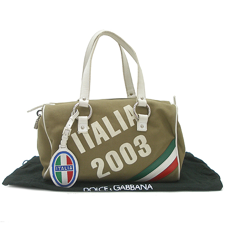 D&G(돌체&가바나) ITALIA 로고 패브릭 원통 토트백
