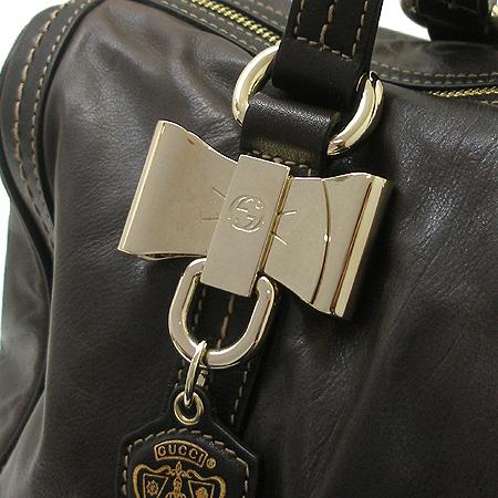 Gucci(구찌) 181488 금장 리본 장식 다크브라운 래더 토트백