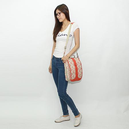 Celine(셀린느) 로고 PVC 오렌지 컬러 래더 트리밍 토트백 + 크로스 스트랩 이미지7 - 고이비토 중고명품