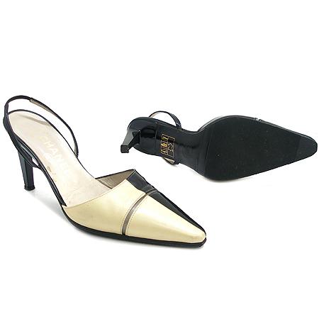 Chanel(샤넬) 블랙 페이던트 화이트 컬러 래더 배색 펌프스 여성용 구두