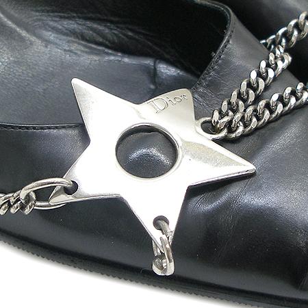 Dior(크리스챤디올) 스타 체인 장식 블랙 래더 펌프스 여성용 구두