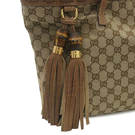 Gucci(구찌) 218780 GG로고 뱀부 장식 자가드 쇼퍼 숄더백 [명동매장]