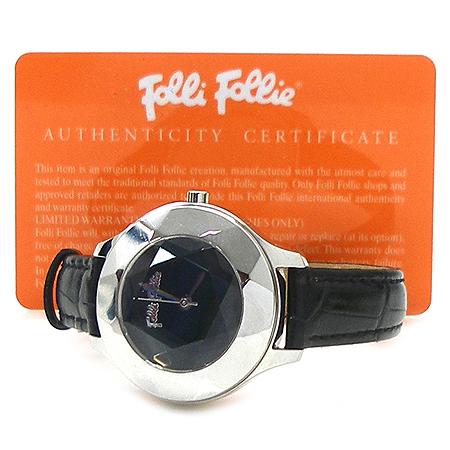 FOLLI FOLLI(폴리폴리) 크리스탈 디자인 베젤 가죽 밴드 시계