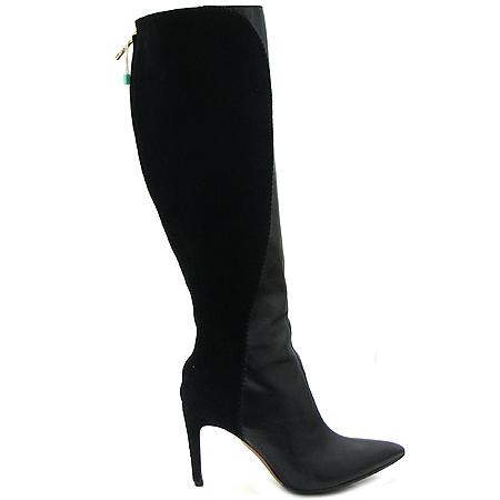 Roverto Cavalli(로베르토 까발리) 블랙 레더 스웨이드 짚업 여성용 부츠