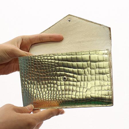 GRAPHIC IMAGE (그래픽 이미지) 크로커다일 패턴 골드 메탈릭 다용도 지갑