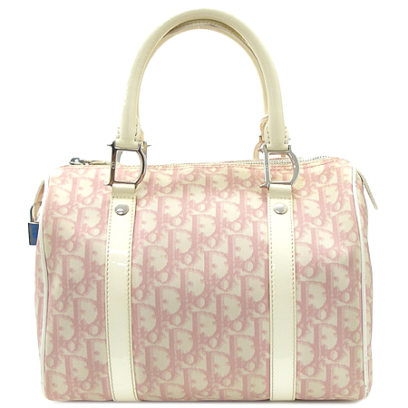 Dior(크리스챤디올) CPD4401991 로고 핑크PVC 화이트애나멜 혼방 보스톤 토트백