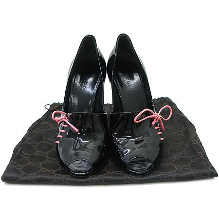 Gucci(구찌) 198708 블랙 페이던트 핑크 리본 오픈토 하이힐 구두