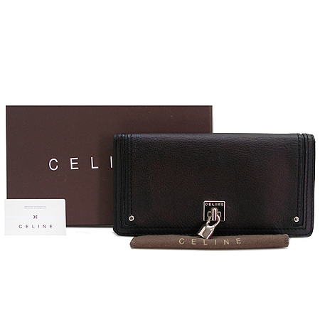 Celine(셀린느) 은장 자물쇠 장식 래더 장지갑