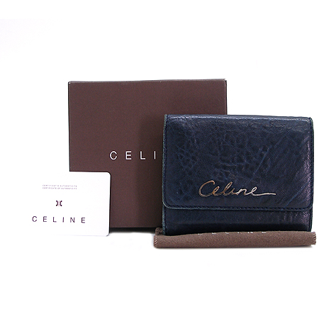 Celine(셀린느) 네이비 래더 은장 로고 반지갑
