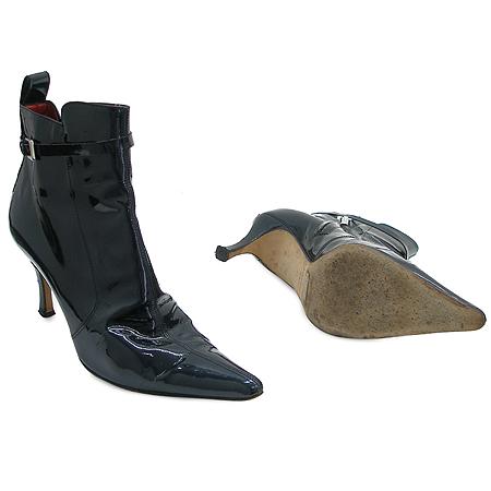 D&G(돌체&가바나) 다크블루 페이던트 짚업 벨트 장식 여성용 부츠