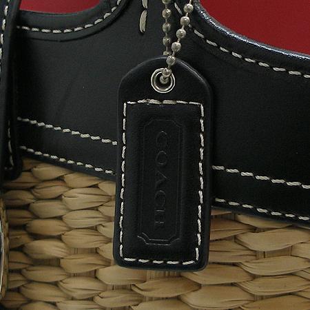 Coach(코치) 6270 한정판 블랙 밀짚 문양 패턴 버터플라이 장식 토트백
