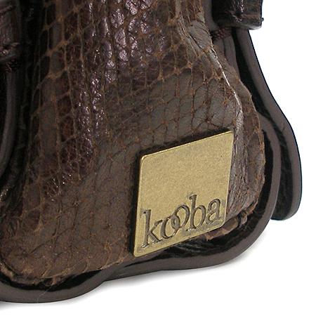 KOOBA (쿠바) 파이톤 패턴 투 포켓 벨트 장식 브라운 래더 숄더백
