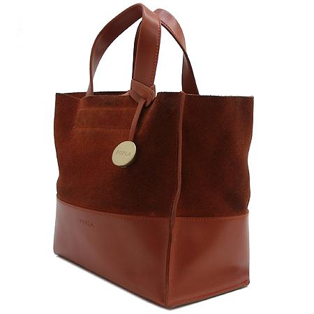 FURLA(훌라) 브라운 세무 래더 금장 로고 방울 장식 토트백