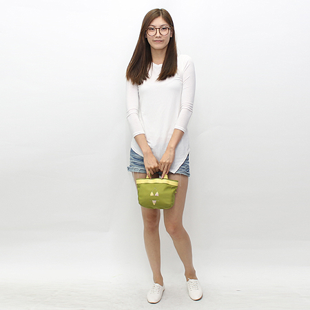 FURLA(훌라) 옐로우&그린 패브릭 비키니 문양 장식 미니 토트백