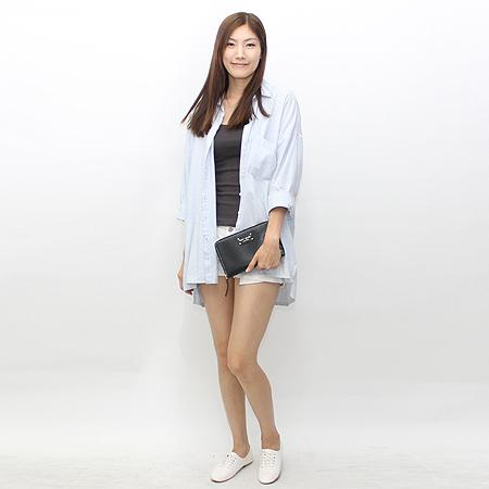 KATESPADE (케이트스페이드) 블랙 래더 짚업 장지갑 겸 클러치