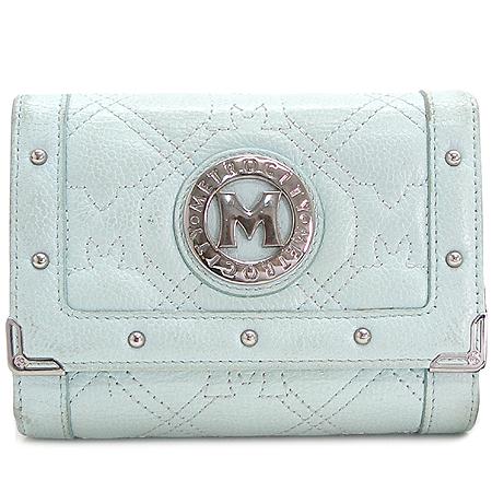 Metrocity(메트로시티) 은장 로고 라이트 블루 래더 3단 중지갑