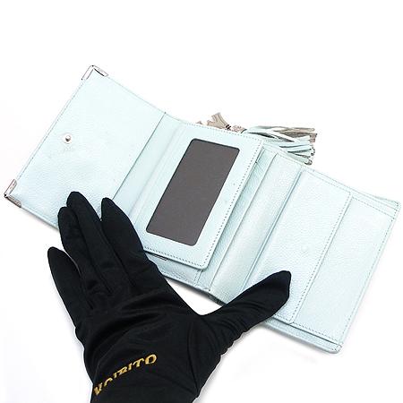 Metrocity(메트로시티) 은장 로고 라이트 블루 래더 3단 중지갑 이미지3 - 고이비토 중고명품