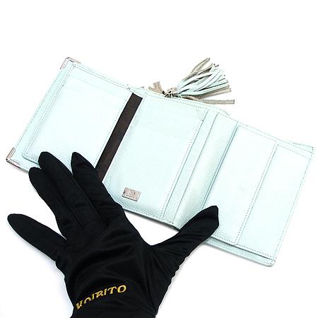 Metrocity(메트로시티) 은장 로고 라이트 블루 래더 3단 중지갑 이미지4 - 고이비토 중고명품