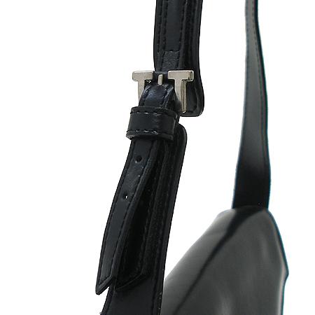 A.testoni(테스토니) 블랙 래더 버클 장식 숄더백