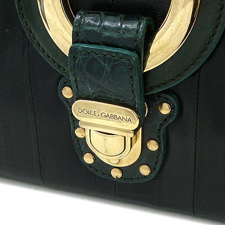 D&G(돌체&가바나) 그린 악어문양 금장로고 짚업 토트백
