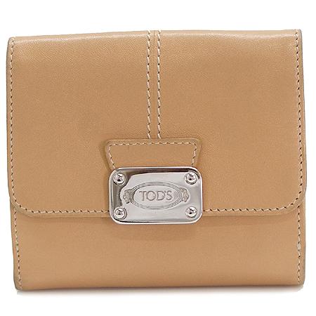 Tod's(토즈) 로고 은장 벌클 장식 베이지 래더 반지갑