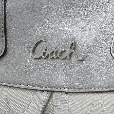 Coach(코치) F15807 시그네쳐 실버 메탈릭 패브릭 토트백 + 숄더 스트랩