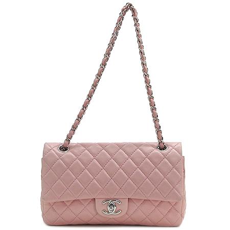 Chanel(샤넬) 클래식 램스킨 M사이즈 핑크 은장체인 숄더백 [부산센텀본점]