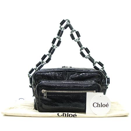 Chloe(끌로에) 6ES188 6E423 블랙 페이던트 멀티 포켓 체인 숄더백 + 보조파우치
