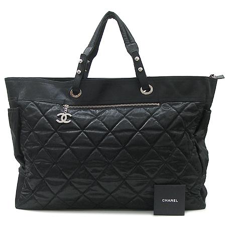 Chanel(샤넬) 비아리츠 오버라지 사이즈 투포켓 패브릭 퀄팅  숄더백 + 보조 파우치 [대구반월당본점] 이미지2 - 고이비토 중고명품