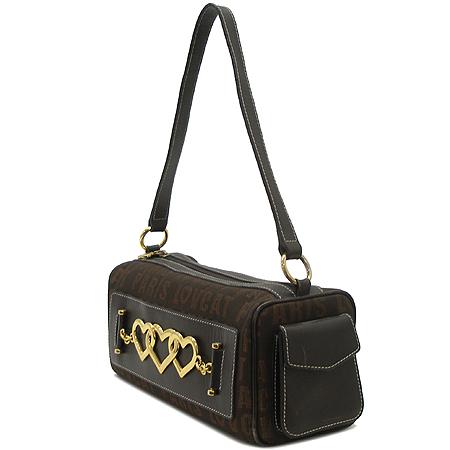 LOVCAT(러브캣) 금장 장식  로고 자가드 멀티 포켓 숄더백