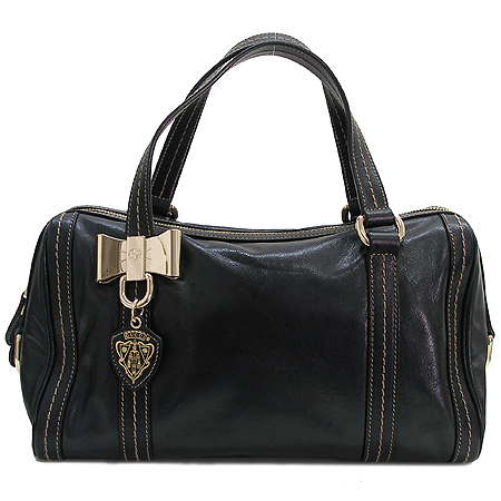 Gucci(구찌) 181487 블랙 래더 은장 로고 리본 장식 보스턴 토트백