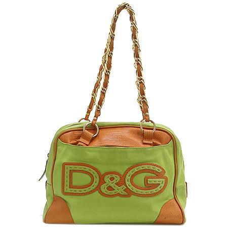 D&G(돌체&가바나) 로고 장식 레더 은장체인 숄더백
