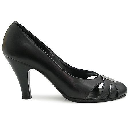 Ferragamo(페라가모) 은장 로고 장식 블랙 레더 여성용 구두