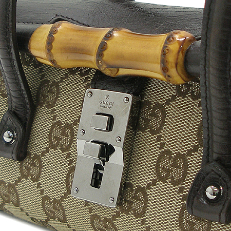 Gucci(구찌) 114991 GG 로고 자가드 뱀부 장식 토트백