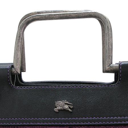 Burberry(버버리) 퍼플 패브릭 은장 로고 문양 장식 빅 쇼퍼 토트백