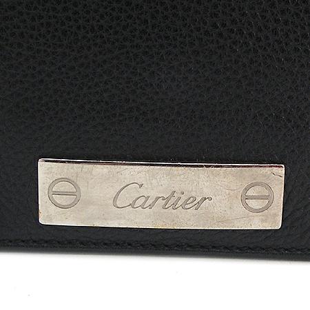 Cartier(까르띠에) L1000753 파샤 블랙 래더 은장 로고 장식 크로스백
