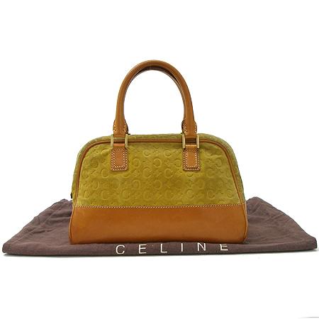 Celine(셀린느) 옐로우 스웨이드 래더 트리밍 로고 패턴 토트백