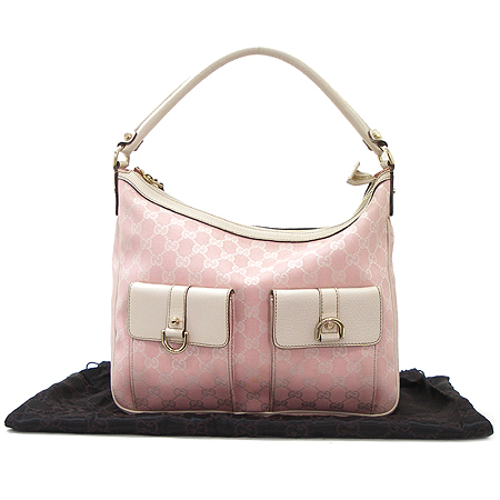 Gucci(구찌) 153025 핑크 GG 로고 투포켓 자갸드 숄더백