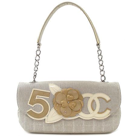 Chanel(샤넬) 까멜리아 래더 패브릭 퀄팅 은장 체인 숄더백