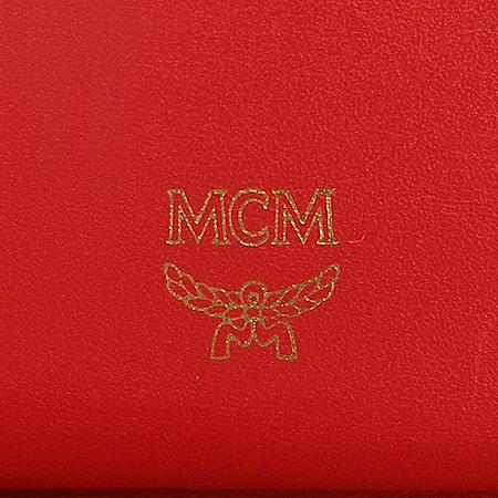 MCM(엠씨엠) 금장 레드 레더 반지갑