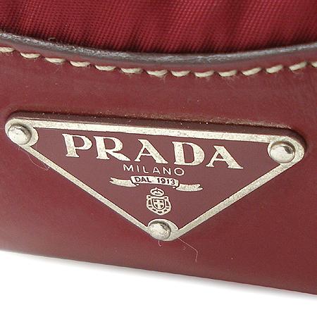 Prada(프라다) 은장 벨트 장식 레드 컬러 패브릭 숄더백