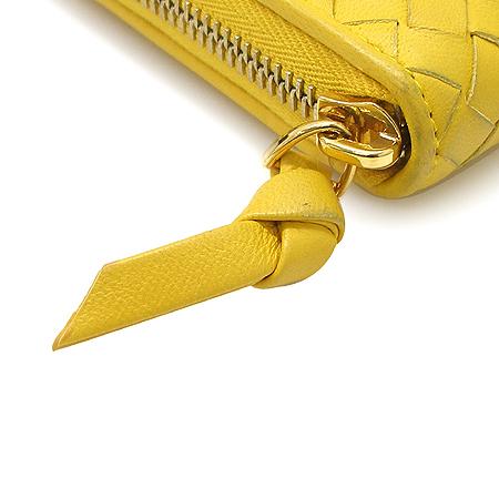 BOTTEGAVENETA (보테가베네타) 114076 옐로우 컬러 위빙 레더 짚업 장지갑