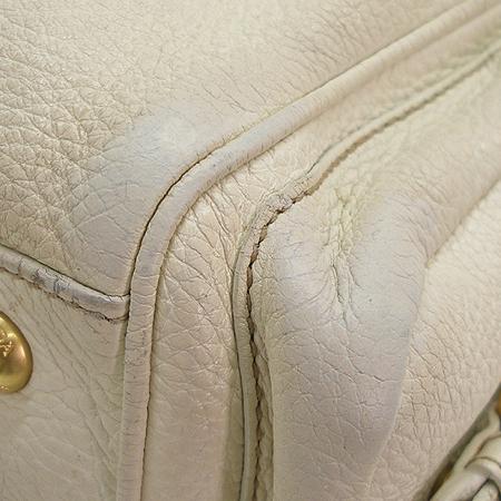 Prada(프라다) 아이보리 래더 측면 투 포켓 금장로고 숄더백
