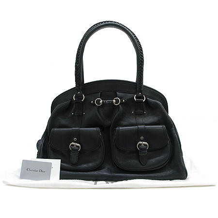 Dior(크리스챤디올) 블랙 래더 멀티 포켓 은장 로고 장식 토트 겸 숄더백