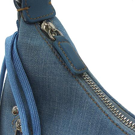 Dior(크리스챤디올) 45BM 1012 은장 로고 장식 멀티 지퍼포켓 데님 호보 숄더백