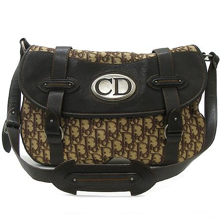 Dior(크리스챤디올) 로고 패턴 은장 로고 장식 패브릭 래더 트리밍 크로스백