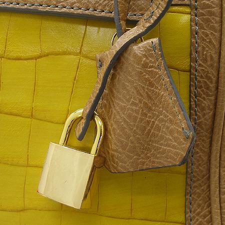 Mine(마인) 옐로우 컬러 크로커다일 패턴 켈리 토트백